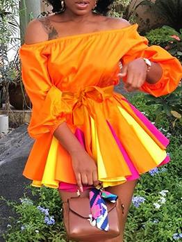 Boat Neck Contrast Color Tie-Wrap A-Line Dress