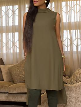 Backless Irregular Hem Sleeveless Chiffon Dress