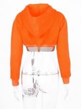 Autumn Bright Orange Zipper Up Cropped Hoodies
