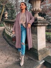 Autumn Solid Color Shawl Collar Woolen Long Cardigan
