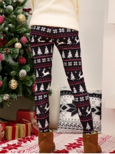 Christmas Colorful Printed Skinny Trousers For Women