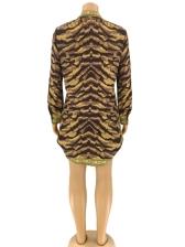 Animal Printed Long Sleeve Shirt Dress