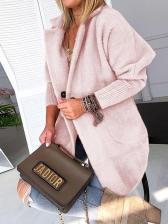Solid Loose Warm Long Sleeve Ladies Long Coat