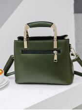 Contrast Color Square Shoulder Bag With Metal Handle