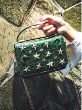 Pentagram Decor Alligator Print Chain Crossbody Bags