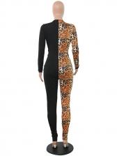 Stylish Leopard Patchwork Zip Up Jumpsuits For Women