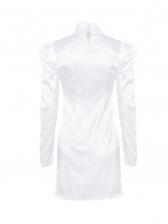 Mock Neck Puff Sleeve White Long Sleeve Bodycon Dress