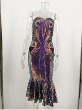 Fishtail Hem Sequin Strapless Dress For Women