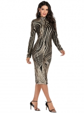 Mock Neck Long Sleeve Sequin Dress For Party