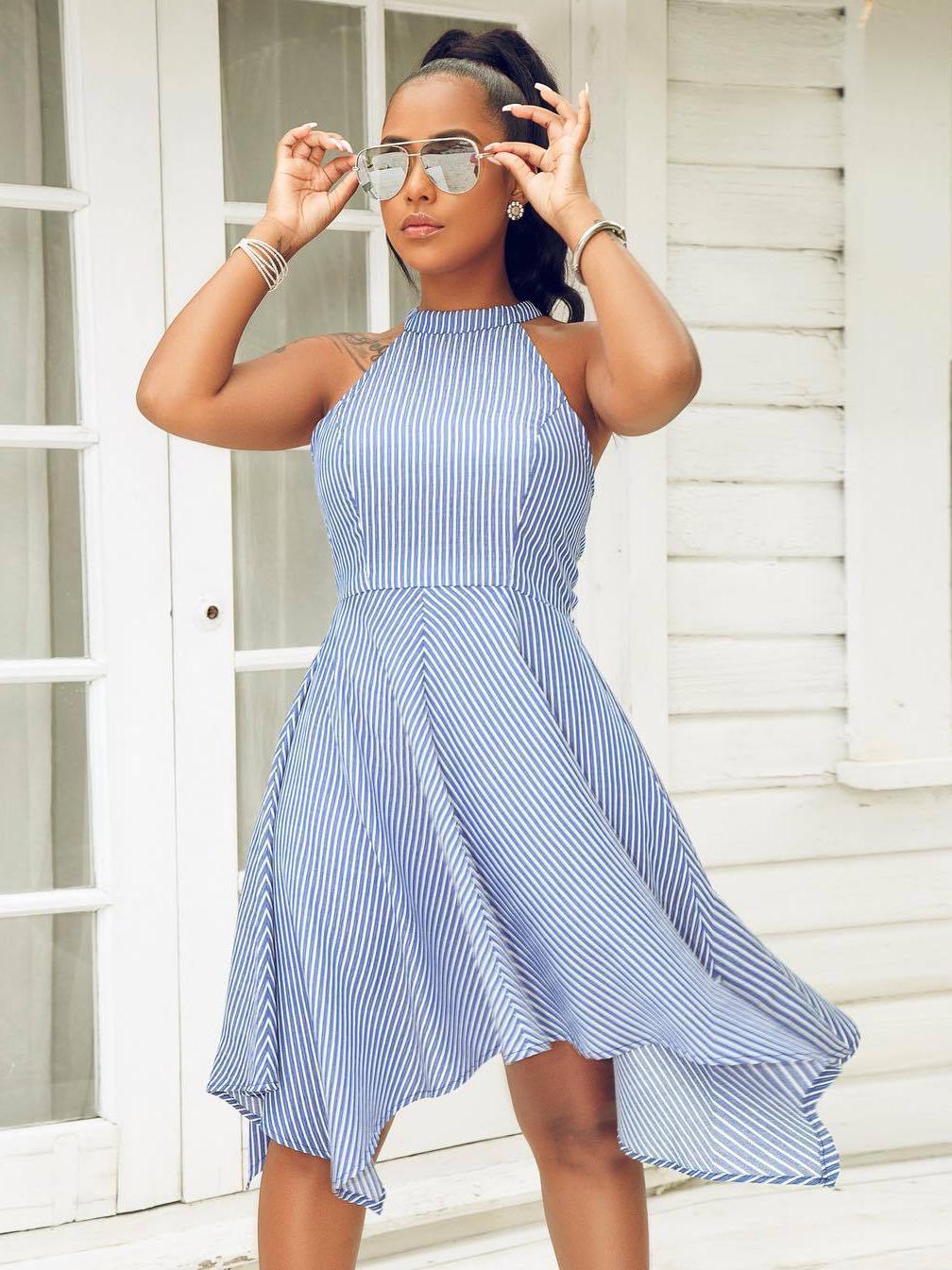 Irregular Striped Sleeveless Swing Dress