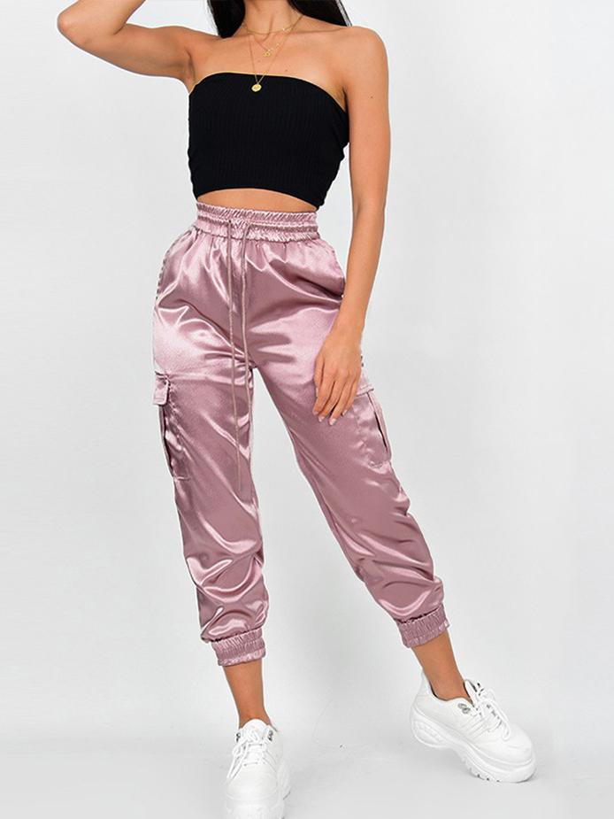 Fashion Drawstring Pockets Lustrous Jogger Pants