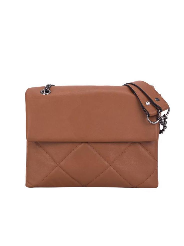 Soft Pu Solid Color Rhombus Pattern Chain Shoulder Bag