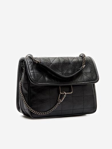 Thread Rhombus Pattern All Black Chain Shoulder Bag