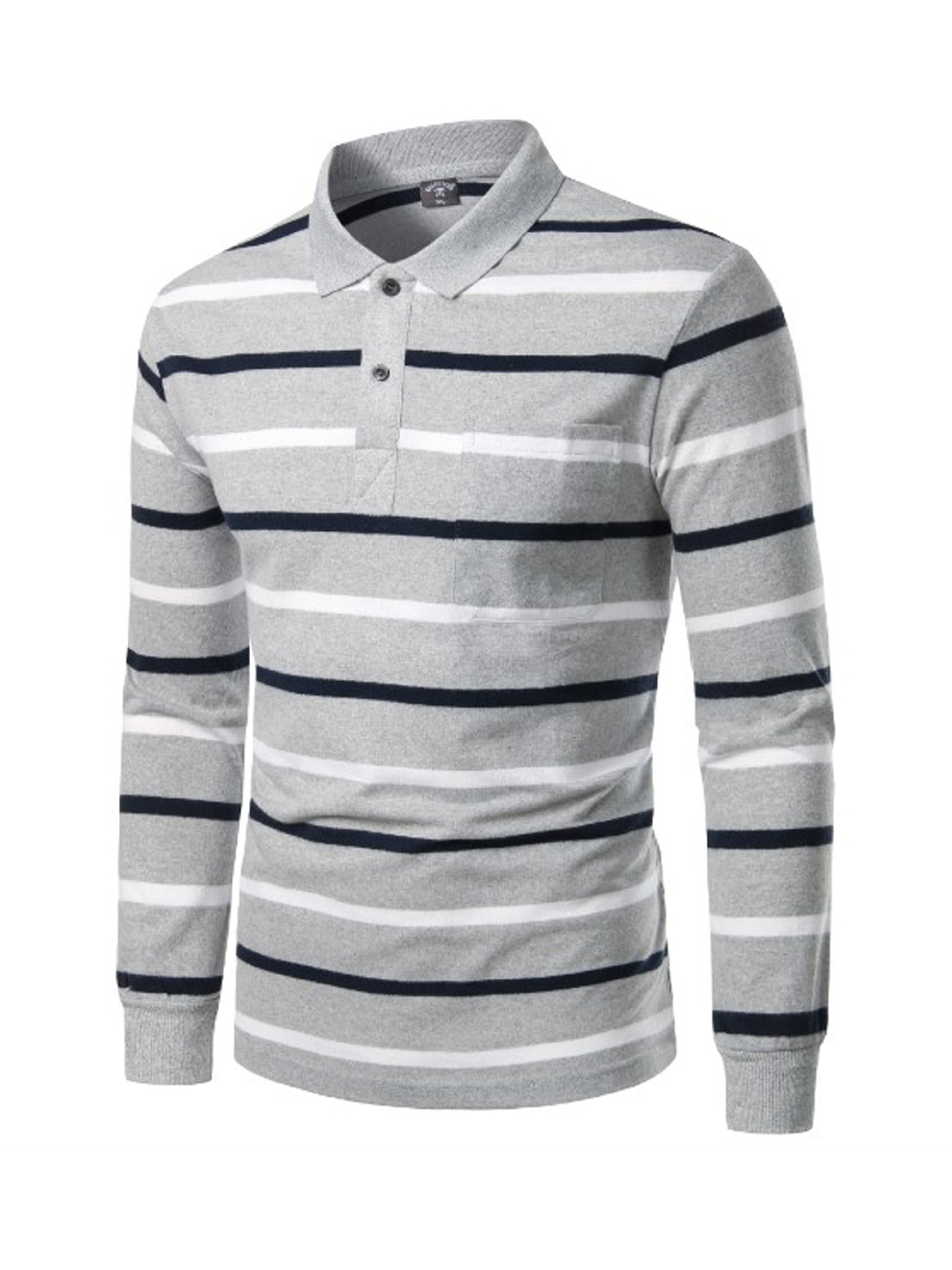 Casual Striped Long Sleeve Polo Shirts