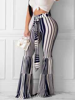 Striped Ruffled High Waist Wide Leg Pants