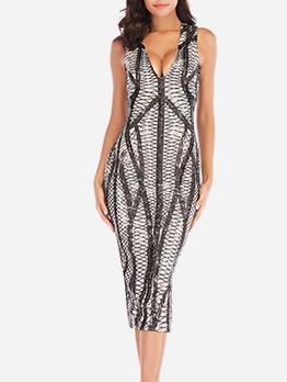Deep V Neck Sequin Sleeveless Party Dress For Women
