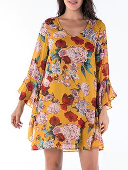 V Neck Flare Sleeve Long Sleeve Floral Dress