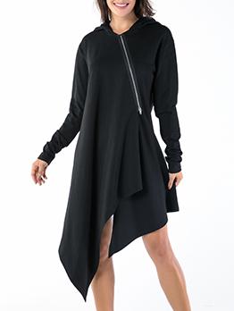 Irregular Hem Black Long Sleeve Hoodies Dress