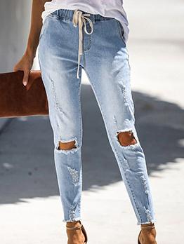 Fashion Skinny Drawstring Ripped Jeans