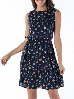Colorful Polka Dots Sleeveless A-Line Dress