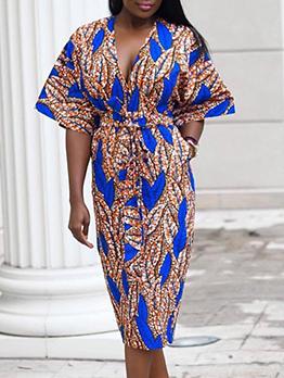 Printed V Neck Short Sleeve Midi Dress