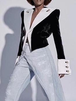 Stylish Contrast Color Button Decor Ladies Blazer