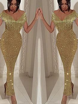 Shinny V Neck Tassel Decor Prom Dress