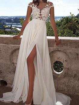 Elegant High Split White Lace Wedding Dress