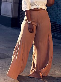 Solid Pleated Women Wide Leg Pants