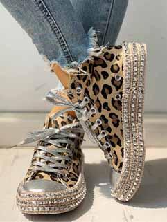 Hot Sale Rivets Leopard Print High Top Canvas Shoes