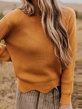 Winter Solid Irregular Hem Pullover Sweater