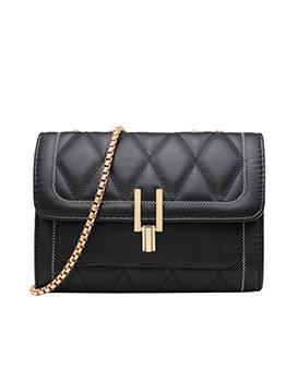 Simple Design Rhombus Golden Chain Shoulder Bag