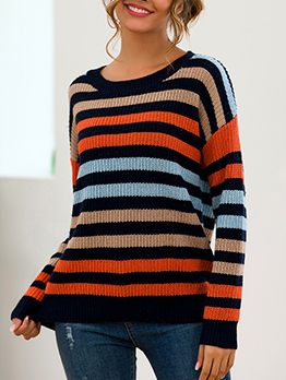 Contrast Color Striped Winter Sweater For Women