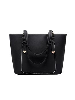 Minimalist Pu Black Large Tote Bags For Ladies