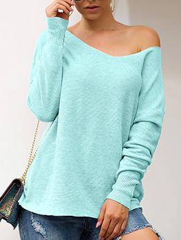 Simple Design Solid Ladies Sweater