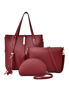 Ol Style Tassel Pendant Solid Color 3 Piece Handbags Set