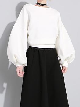 Pure Color Lantern Sleeve Bow Sweatshirts For Women