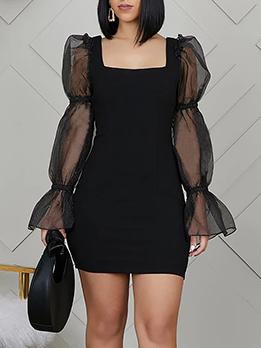 Square Neck Black Long Sleeve Bodycon Dress