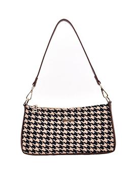 Houndstooth Tweed Patchwork Pu Rectangle Shoulder Bag