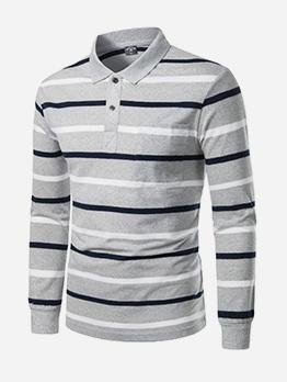 Casual Striped Long Sleeve Polo Shirts