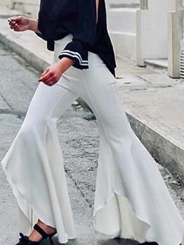 Bohemian Irregular Pure Color Ruffled Flare Bottom Pants