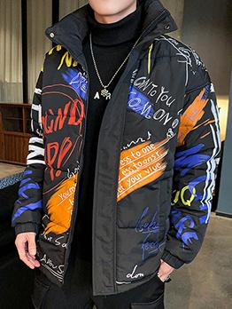 Graffiti Print Stand Collar Down Coat