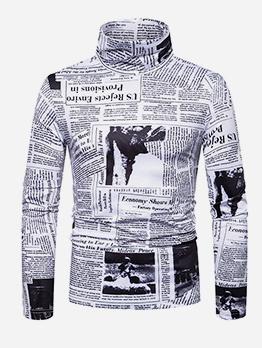 Newspaper Print High Neck Tee Shirts
