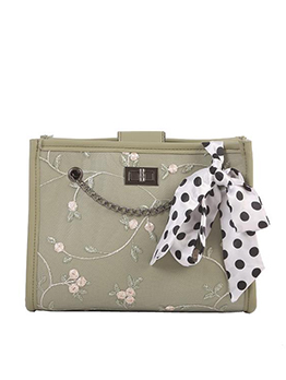 Flower Embroidered Polka Dot Silk Scarf Ladies Chain Bags