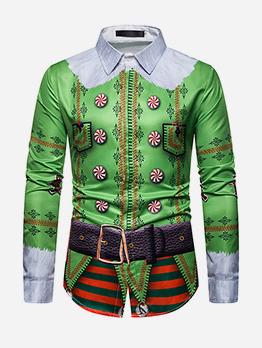 Christmas Cartoon Print Long Sleeve Shirts