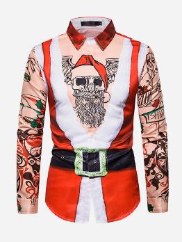 Christmas Santa Claus Print Long Sleeve Shirts