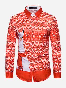 Christmas Printed Turndown Collar Long Sleeve Shirts