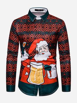Christmas Santa Claus Printed Long Sleeve Shirts