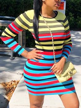 Fashion Long sleeve Striped Mini Dress