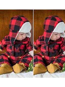 Hot Sale Contrast Color Plaid Sleepsuit With Cap